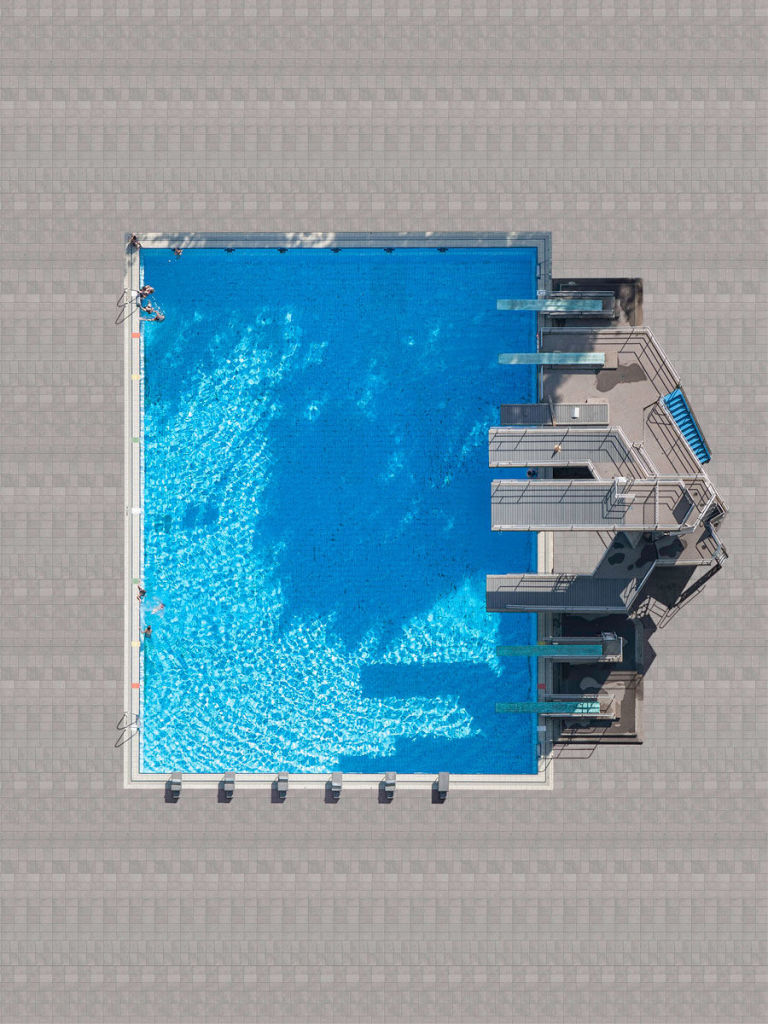 in his latest series of aerial photographs hes captured the ultimate summertime hangoutthe swimming pooland the results are spectacular